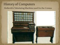 History of Computers Hollerith's Tabulating Machine used for the Census